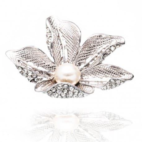 Piękna srebrna broszka LIŚĆ z perłą i cyrkoniami