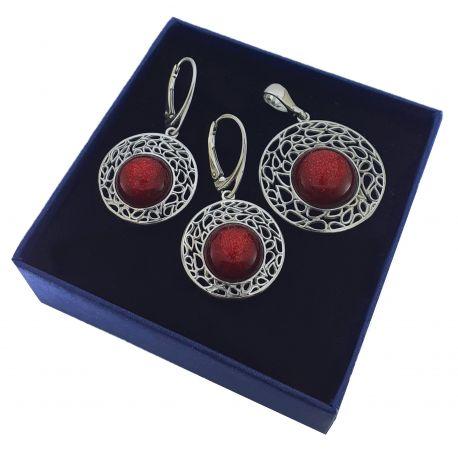 Srebrny komplet z czerwonym lśniącym kamieniem księżycowym