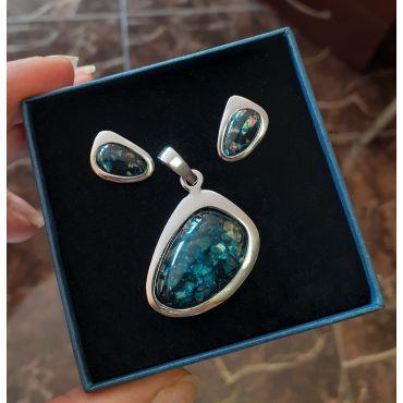 Srebrny komplet opal szafirowy