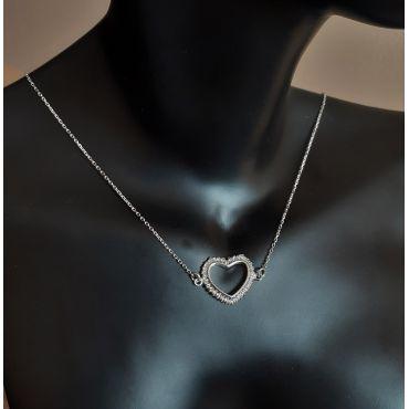 Naszyjnik srebrny rodowany - serce z cyrkoniami