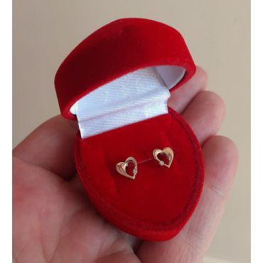 Złote kolczyki sztyft serce z cyrkonią