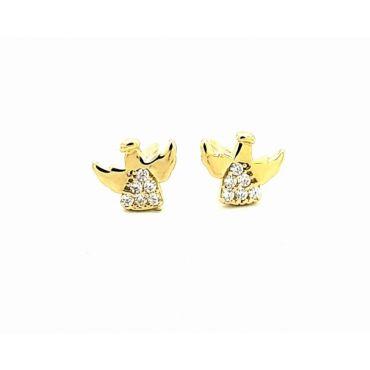 Złote kolczyki aniołki - biała cyrkonia pr. 585