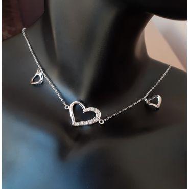 Naszyjnik srebrny choker z serduszkami