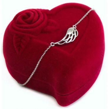 Celebrytka srebrna - skrzydło Anioła z kryształami
