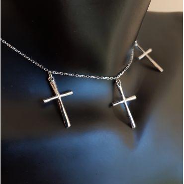 Naszyjnik srebrny choker krzyżyk