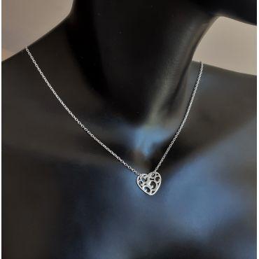 Celebrytka srebrna -ażurowe serduszko