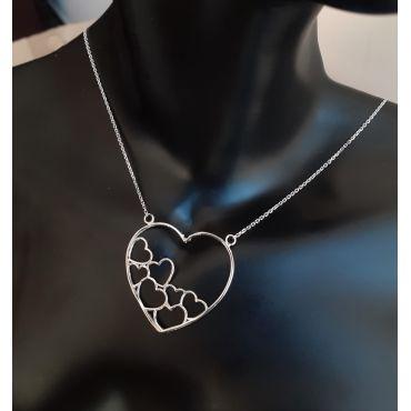 Celebrytka srebrna -ażurowe serce