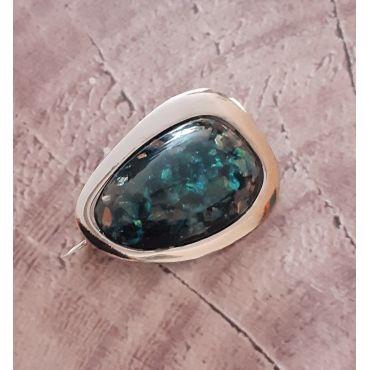 Piękna srebrna broszka opal szafirowy