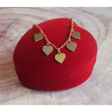Złota bransoletka serca 585