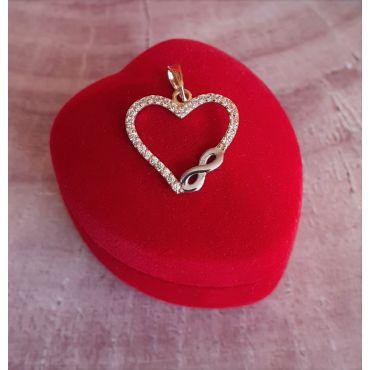 Wisiorek serce z cyrkoniami złoto 585