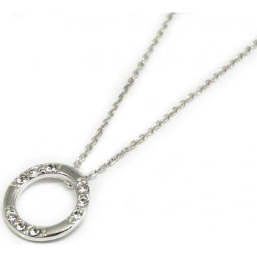 Celebrytka srebrna - kółeczko z lśniącymi cyrkoniami